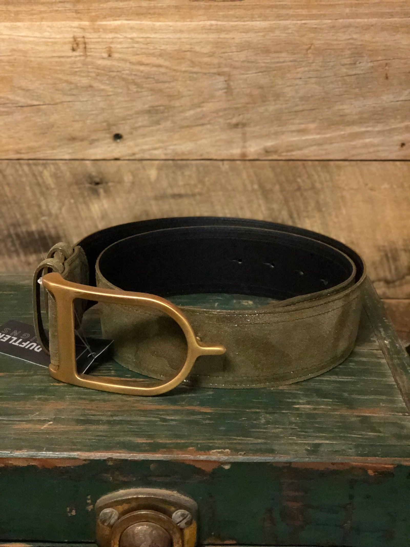Duftler Spur Belt Olive Camo with Antique Gold Buckle - Luxe EQ