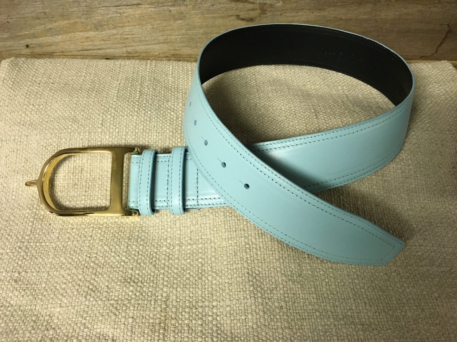 Duftler Spur Belt Aqua Lamb W/Gold Buckle