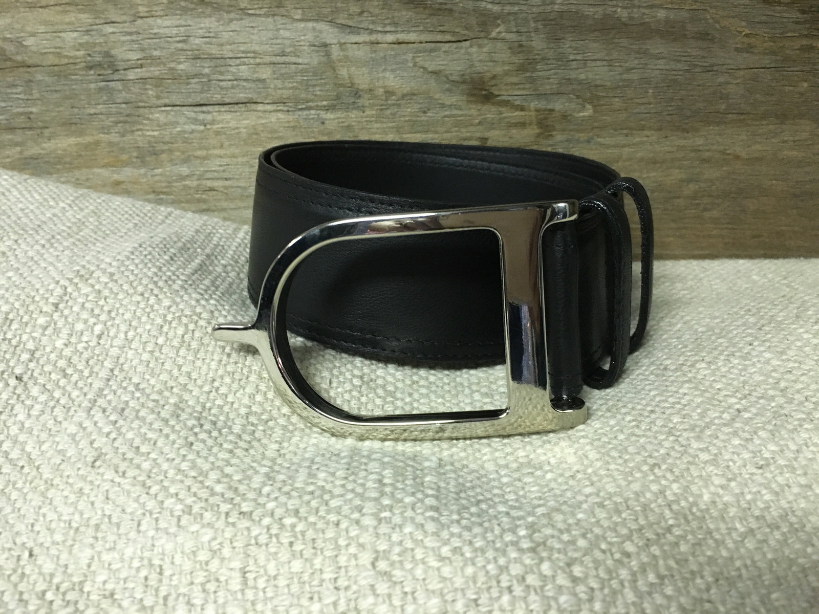 Duftler Spur Belt  Black Lamb W/Silver Buckle
