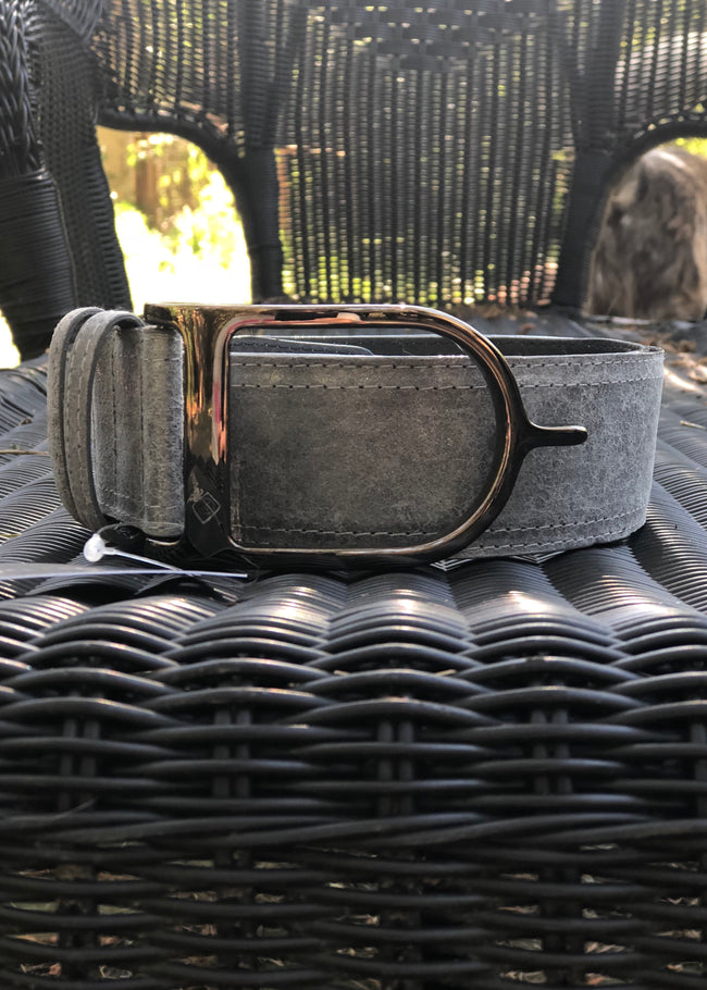 Duftler Spur Belt Charcoal Marble Distressed Gunmetal Buckle - Luxe EQ