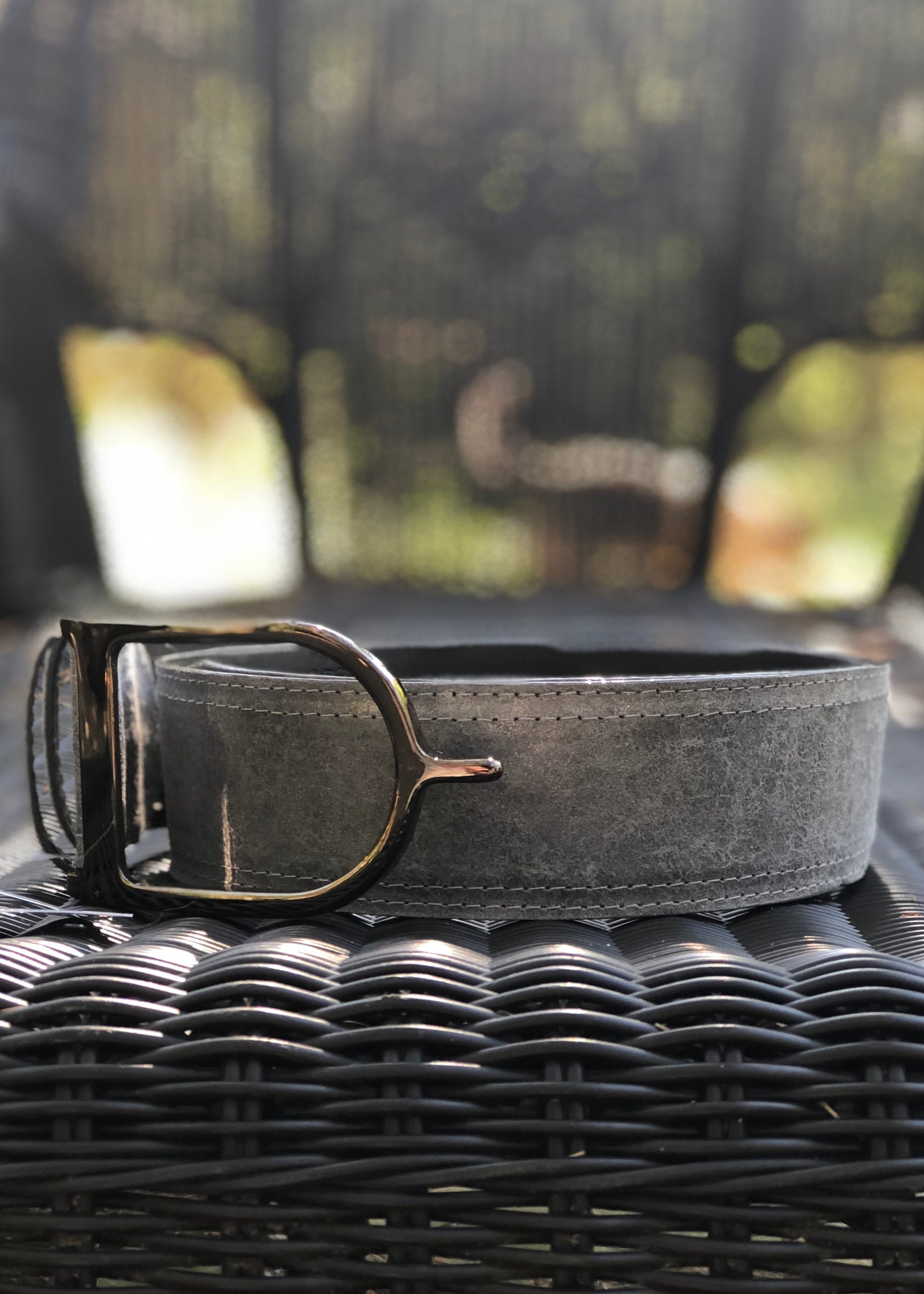 Duftler Spur Belt Charcoal Marble Distressed Gunmetal Buckle