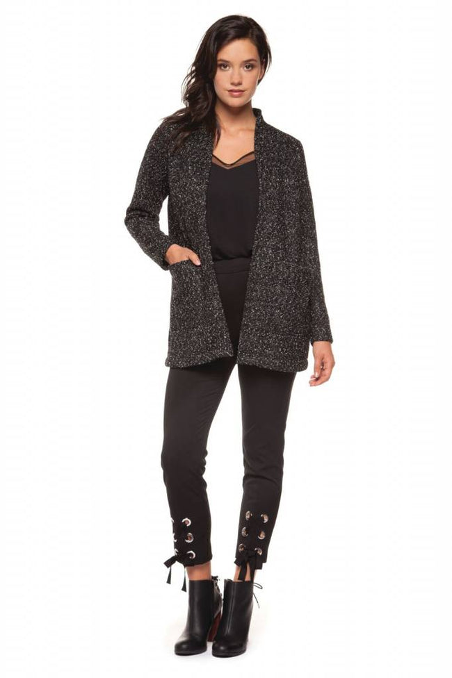 Black Tape Open Jacket with Pockets - Luxe EQ