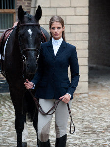 Winston Equestrian Coat Sale Exclusive Black With Royal Blue Piping