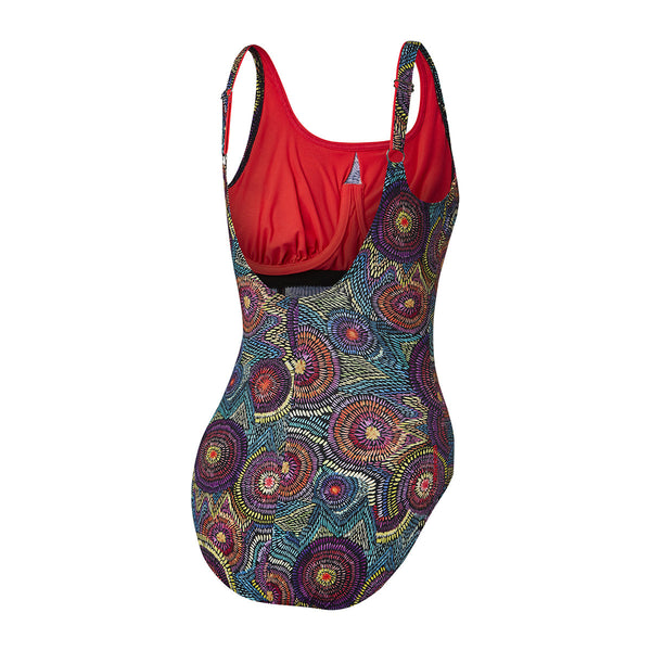 Concealed D Cup Sunflowers/ Fiery Red Ladies Speedo