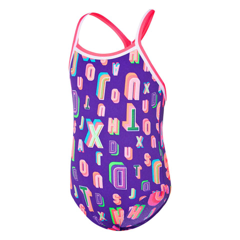 Toddlers Girl Typo TwinBack Speedo