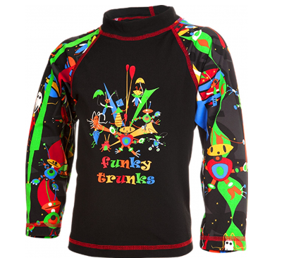 Black StigToddlers  Long sleeve Sun Top Funky Trunks