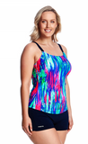 Scoop Neck Tankini Cup Size B-D/ Brush Strokes