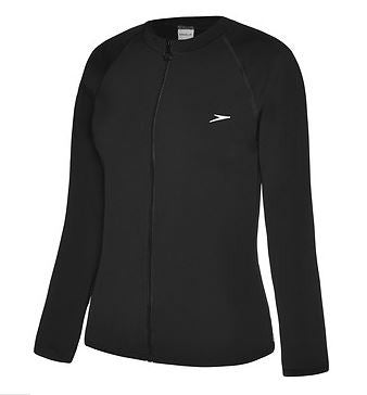 Long sleeve zipfront Black suntop Ladies Speedo