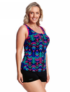 Zip Front Tankini Cup Size DD-E/ Feather Duster