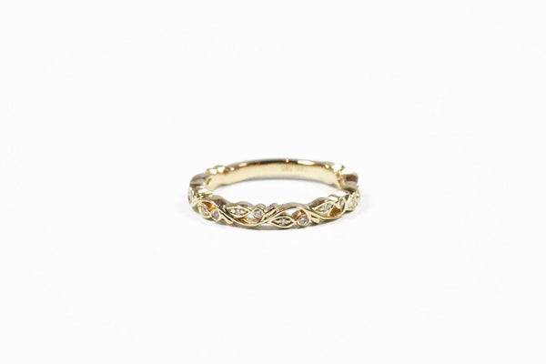 Yellow Gold Sculptural Floral Band With Diamonds