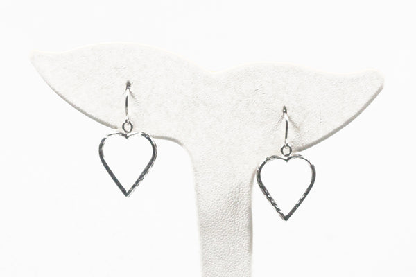 White Gold Textured Open Heart Earrings