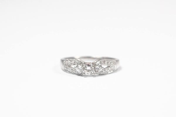White Gold Three Stone Engagement Ring with Milgrain Edging