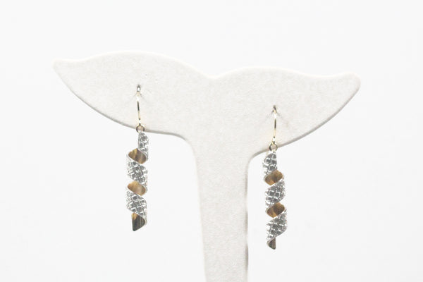 Two-tone Spiral Sparkle Earrings