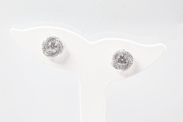 Sterling Silver Halo Knot Earrings