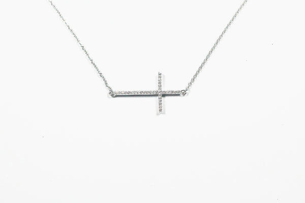 Sterling Silver Larger Sideways Cross Necklace