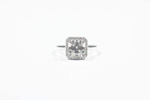 Sterling Silver Asscher Cut Halo Style Ring