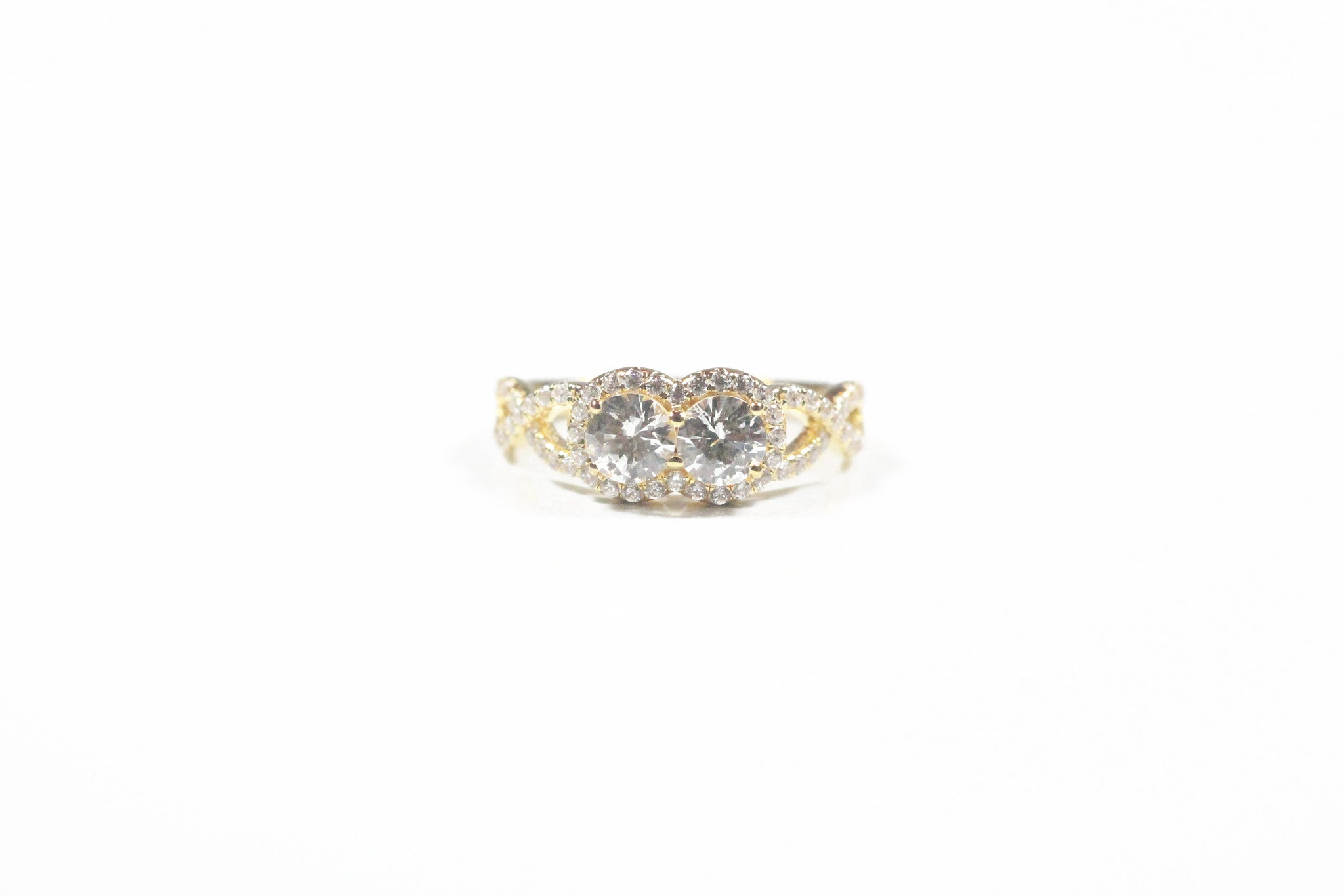 Lafonn Sterling Silver with Yellow Gold Plate Two Stone Halo Ring