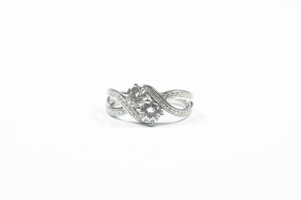 Lafonn Sterling Silver Two Stone Bypass Ring