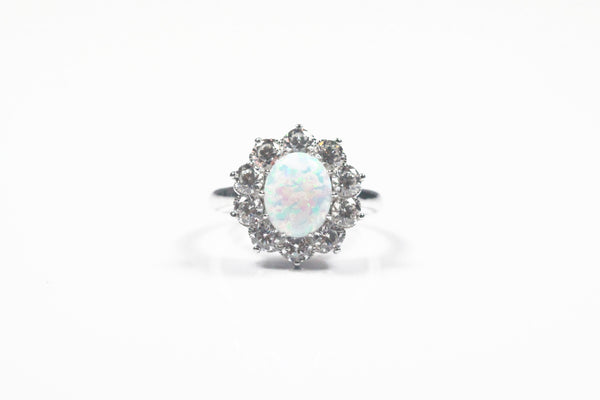 Sterling Silver Simulated Opal Ring with Halo