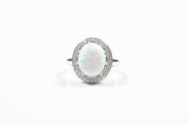Sterling Silver Simulated Opal Ring
