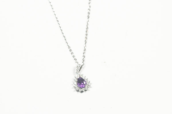 White Gold Pear Shaped Amethyst and Diamond Pendant with Chain