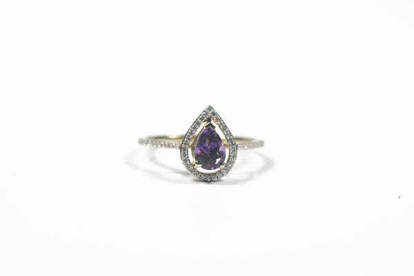 Yellow Gold Pear Shaped Amethyst and Diamond Halo Ring