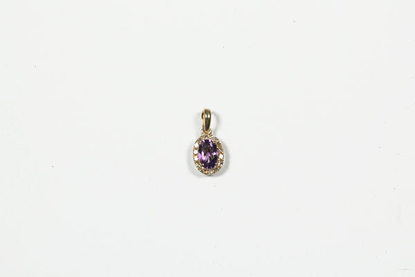 Yellow Gold Amethyst Halo Pendant