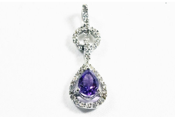 White Gold Drop Pendant with Amethyst and Diamonds