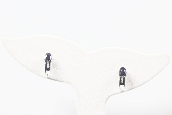 White Gold Earrings with Amethyst and Diamonds