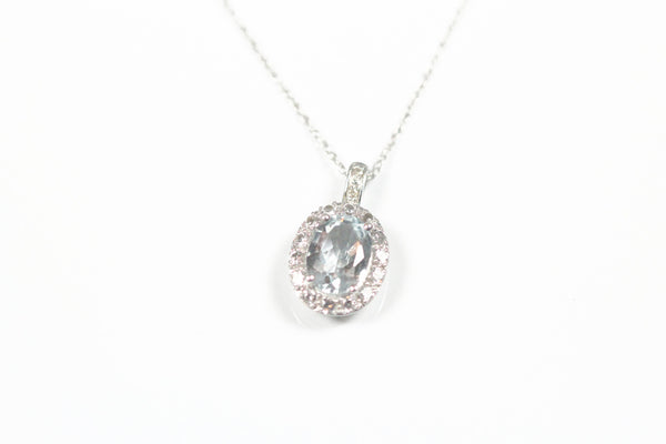 White Gold Aquamarine Halo Pendant with Chain