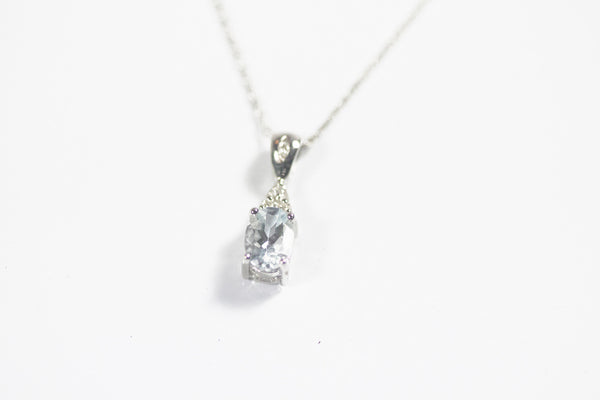 White Gold Aquamarine Pendant with Diamonds
