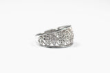 White Gold Diamond Filigree Wide Band