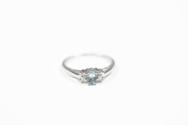 White Gold Birthstone Ring with Blue Topaz and Diamonds