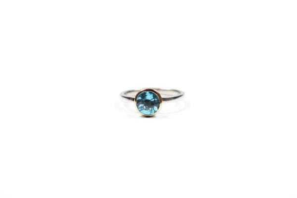 Sterling Silver and Yellow Gold Blue Topaz Bezel Ring