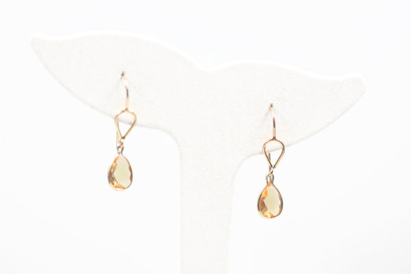 Yellow Gold Teardrop Citrine Dangles