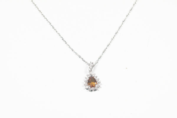 White Gold Citrine and Diamond Halo Necklace