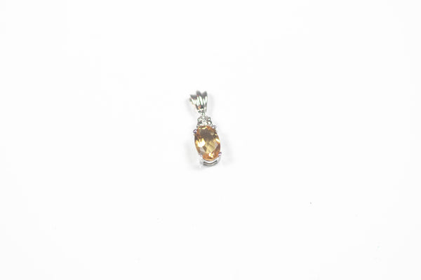 White Gold Citrine Pendant with Diamonds