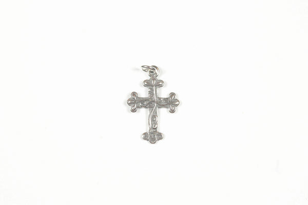 Sterling Silver Cross Pendant with Vines
