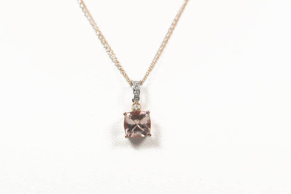 Cushion Cut Morganite and Diamond Pendant with Double Chain