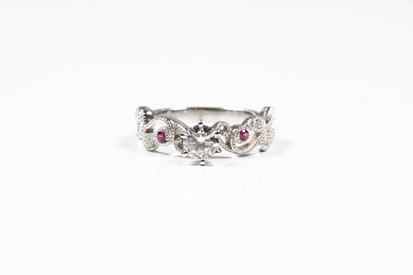 White Gold Floral Design Ruby and Diamond Engagement Ring