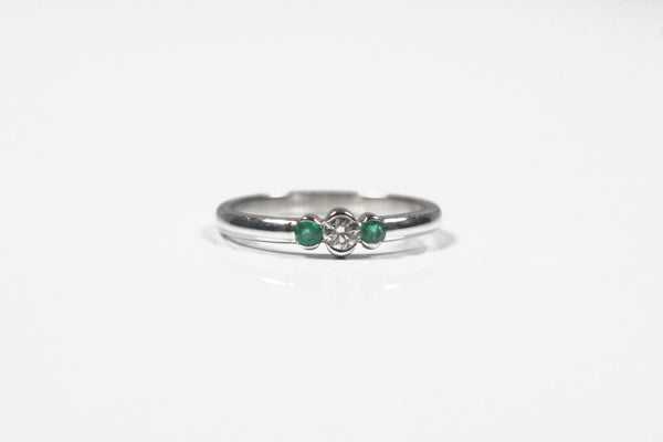 White Gold Half Bezel Emerald and Diamond Ring