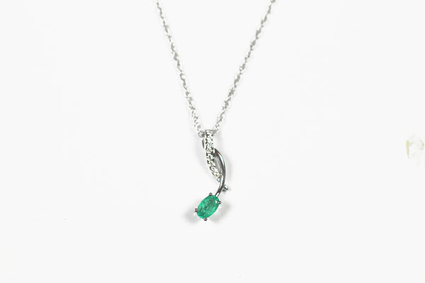 White Gold Emerald and Diamond Pendant with Chain