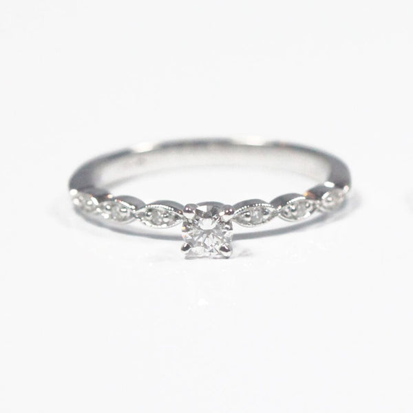 White Gold Engagement Ring with Milgrain Edging and Round Diamond Center