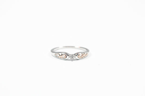 White and Rose Gold Filigree Diamond Promise Ring