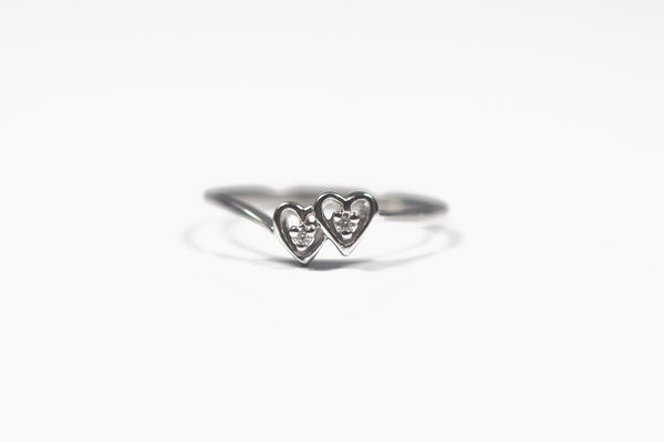 White Gold Two Heart Diamond Ring
