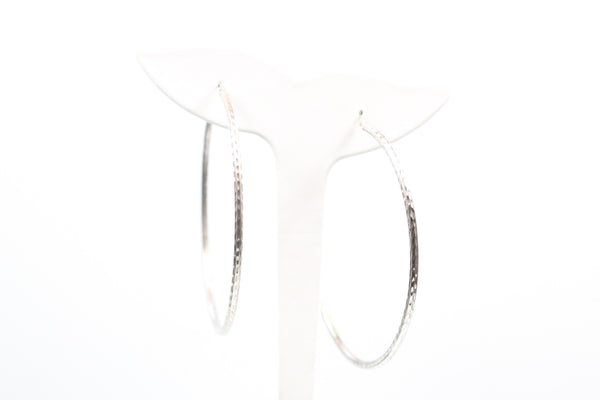 Sterling Silver Diamond Cut Large Hoop Earrings