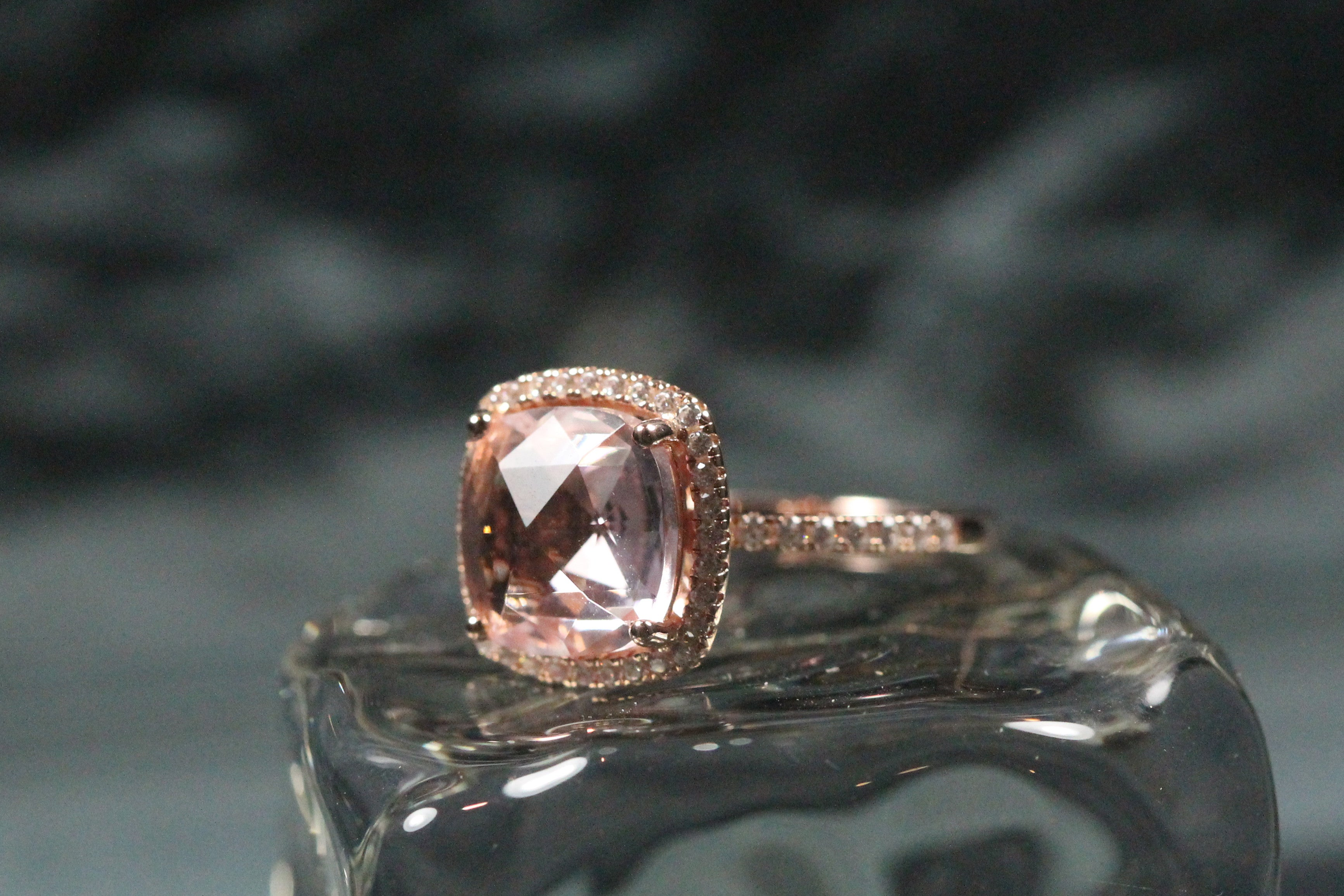 Lafonn Sterling Silver with Rose Gold Plate and Simulated Morganite Halo Ring
