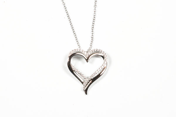 Lafonn Sterling Silver  Double Heart Necklace