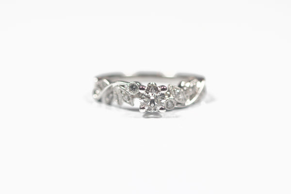 White Gold Leaf Design Engagement Ring with Round Diamond Center