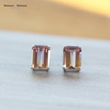 White Gold Ametrine Stud Earrings